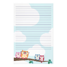 Cute Hipster Glasses Owl Stationery at Zazzle
