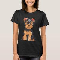 Cute Hipster Little Yorkshire Terrier T-Shirt