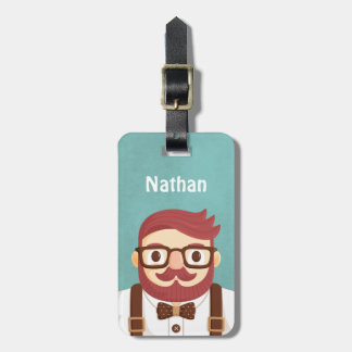 Cute Hipster Moustache Gentleman Luggage Tag