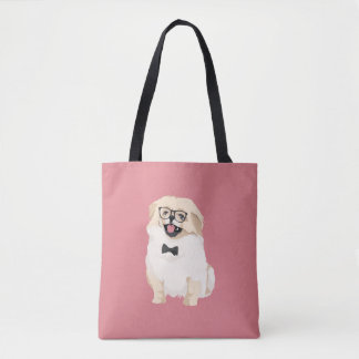 Cute Hipster Pekingese Puppy for Dog Lovers Tote Bag