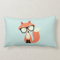 Cute Hipster Red Fox and Mint Chevron Pattern Throw Pillow