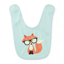 Cute Hipster Red Fox Bib