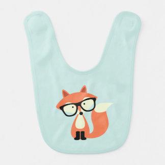 Cute Hipster Red Fox Bib
