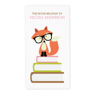 Cute Hipster Red Fox Bookplate Label