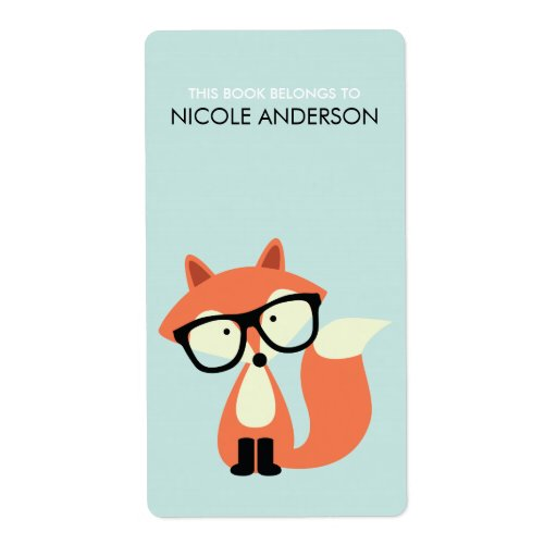 Cute Hipster Red Fox Bookplate Personalized Shipping Label