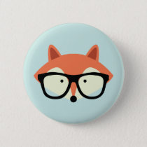 Cute Hipster Red Fox Button