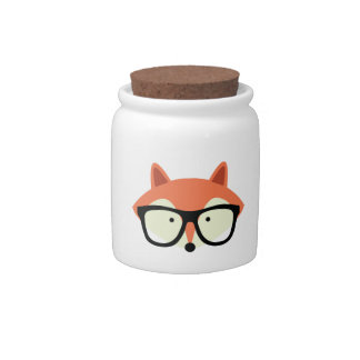 Cute Hipster Red Fox Candy Jars