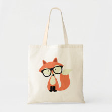 Cute Hipster Red Fox Canvas Bags