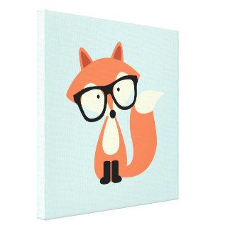 Cute Hipster Red Fox Canvas Print