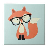 Cute Hipster Red Fox Ceramic Tile