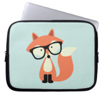 Cute Hipster Red Fox Computer Sleeve