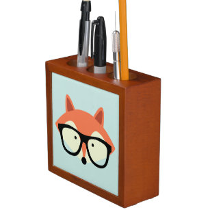 Cute Hipster Red Fox Pencil/Pen Holder