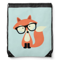 Cute Hipster Red Fox Drawstring Bag