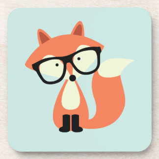 Cute Hipster Red Fox Drink Coaster
