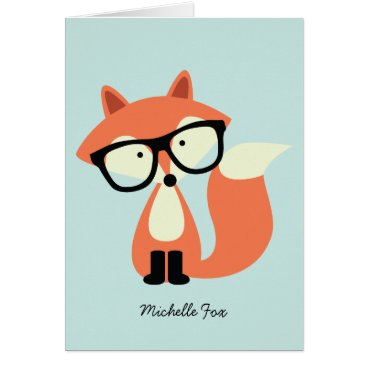 heartlocked Cute Hipster Red Fox Folded Thank You Notes