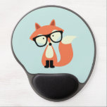 """Cute Hipster Red Fox Gel Mouse Pad<br><div class=""""desc"""">Adorable vector illustration of a cute little red fox wearing an oversized pair of glasses.</div>"""