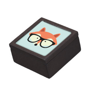 Cute Hipster Red Fox Gift Box