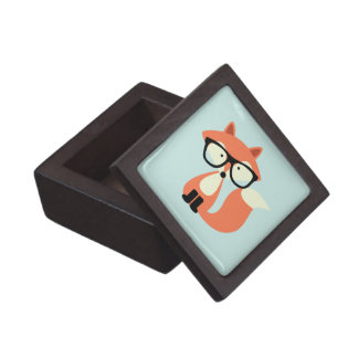 Cute Hipster Red Fox Jewelry Box