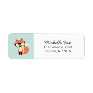 Cute Hipster Red Fox Label