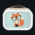 """Cute Hipster Red Fox Lunch Box<br><div class=""""desc"""">Adorable vector illustration of a cute little red fox wearing an oversized pair of glasses.</div>"""