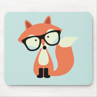 Cute Hipster Red Fox Mouse Pad