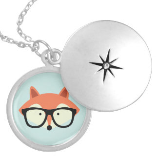 Cute Hipster Red Fox Personalized Necklace