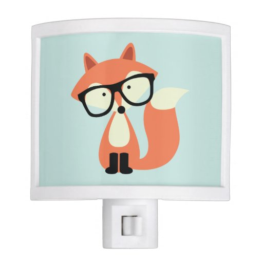 Cute Hipster Red Fox Night Light