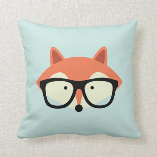 Cute Hipster Red Fox Pillow Zazzle