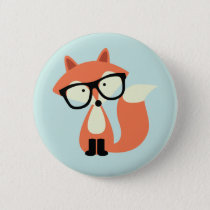 Cute Hipster Red Fox Pinback Button