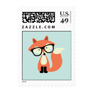 Cute Hipster Red Fox Postage Stamps