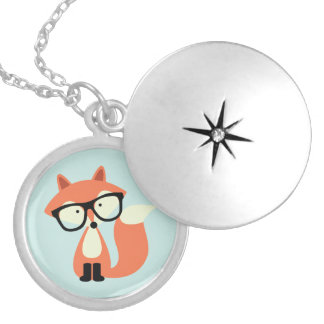 Cute Hipster Red Fox Round Locket Necklace