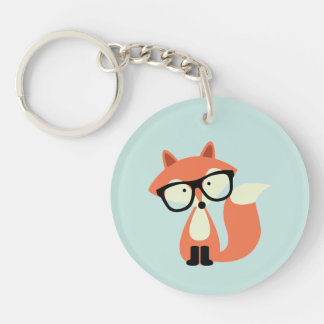 Cute Hipster Red Fox Single-Sided Round Acrylic Keychain
