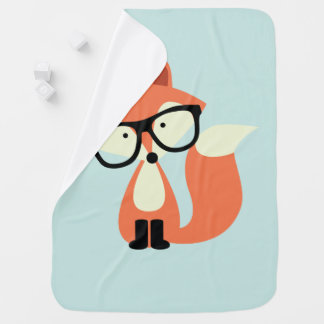 Cute Hipster Red Fox Swaddle Blanket