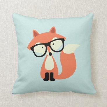 heartlocked Cute Hipster Red Fox Throw Pillow