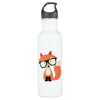 Cute Hipster Red Fox Water Bottle