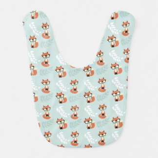 Cute Hipster Red Foxes Pattern Bib