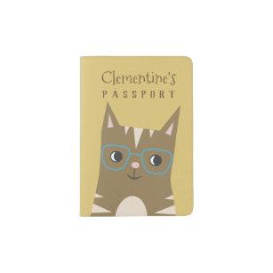 Brown Customized Passport Holder Case Cute Cat Dog Print for Kids Travel