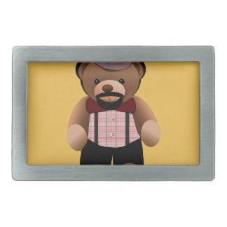Cute Hipster Teddy Bear With Beard Belt Buckle