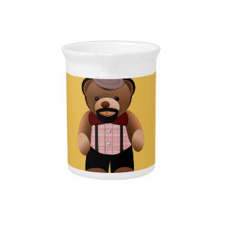 Cute Hipster Teddy Bear With Beard Pitcher