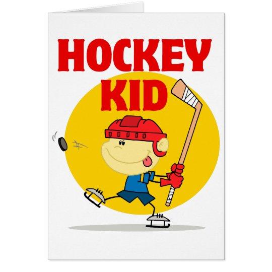 cute hockey kid cartoon character card
