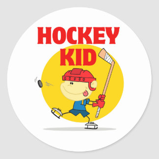 cute hockey kid cartoon character classic round sticker