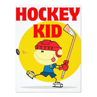 cute hockey kid cartoon character 6.5x8.75 paper invitation card