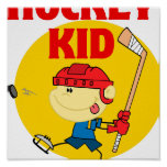 cute hockey kid cartoon character poster