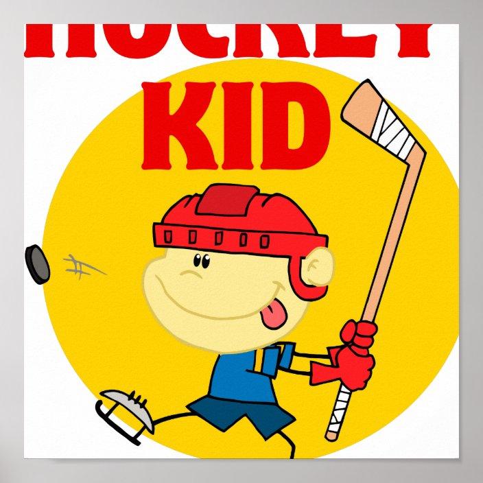 Cute Hockey Kid Cartoon Character Poster Zazzle Com