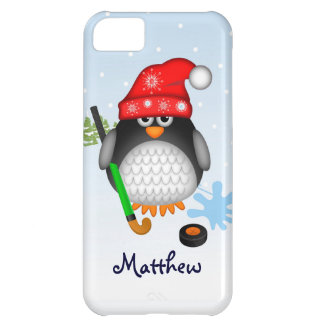 Cute Hockey penguin with hat and custom name iPhone 5C Cover
