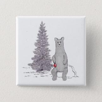"""Cute Holiday Bear Pin Square """"Tis the season"""""""