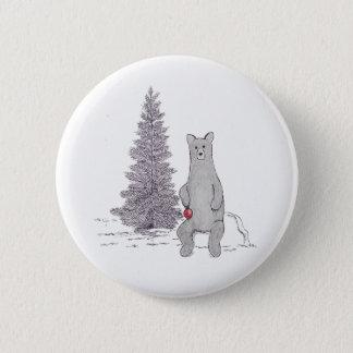 """Cute Holiday Bear Pin. """"Tis the season"""" Button"""