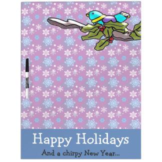 Cute Holiday Bird and Holly Happy Holidays Dry Erase Board