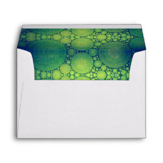 Cute, holiday, blue green bubble photo art lined envelope