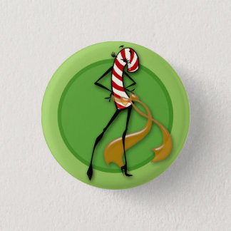 CUTE HOLIDAY CANDY CANE WOMAN ILLUSTRATION BUTTON